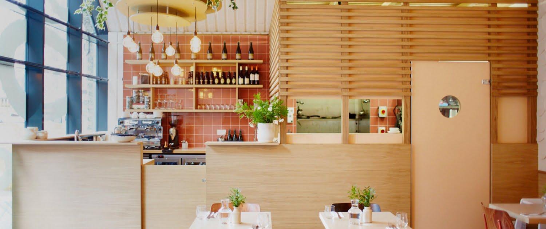 Inside restaurant - where the pancakes are - bright light room