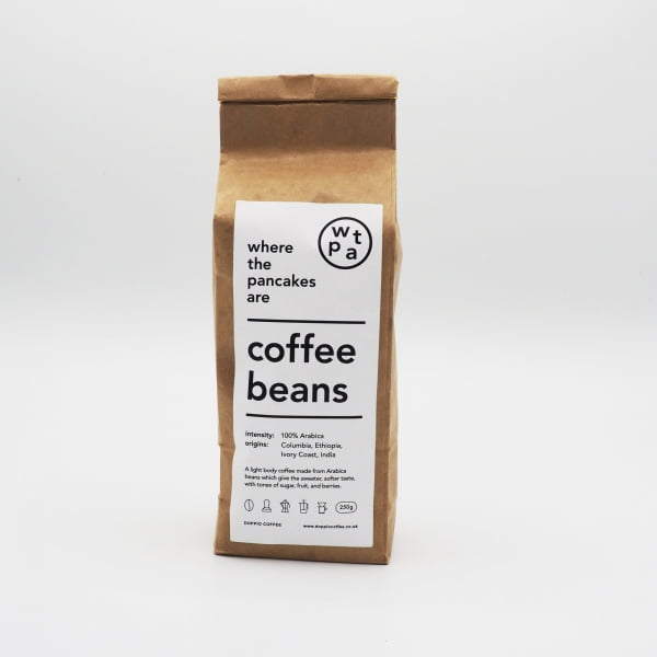 bag of 100% arabica coffee beans 250g